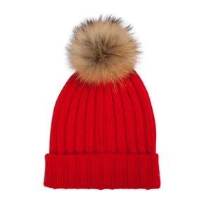 Cashmere Rib Knit Bobble Hat - Red/Natural