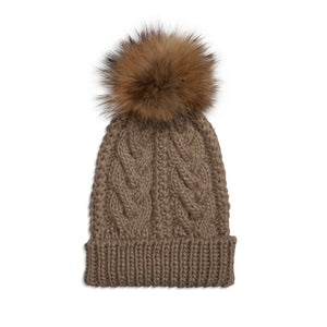 xCable Knit Hat - Taupe/Natural