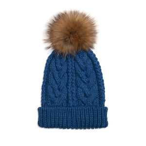 xCable Knit Hat - Denim/Natural
