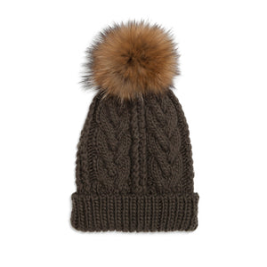 xCable Knit Hat - Khaki/Natural