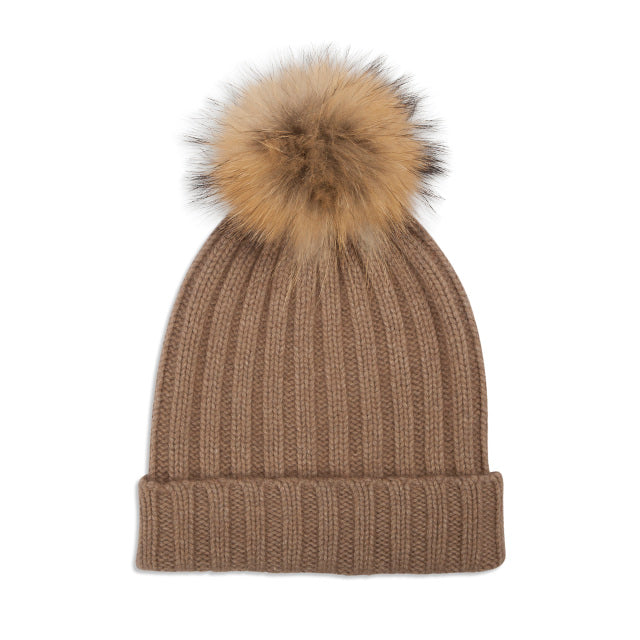 Cashmere Rib Knit Bobble Hat - Camel/Natural
