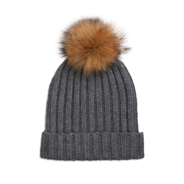 Cashmere Rib Knit Bobble Hat - Grey/Natural