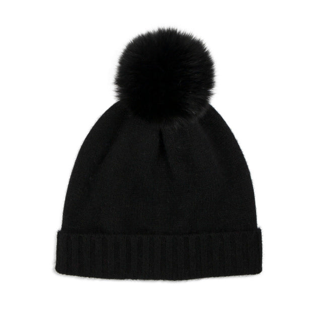 Cashmere Plain Knit Bobble Hat - Black/Black