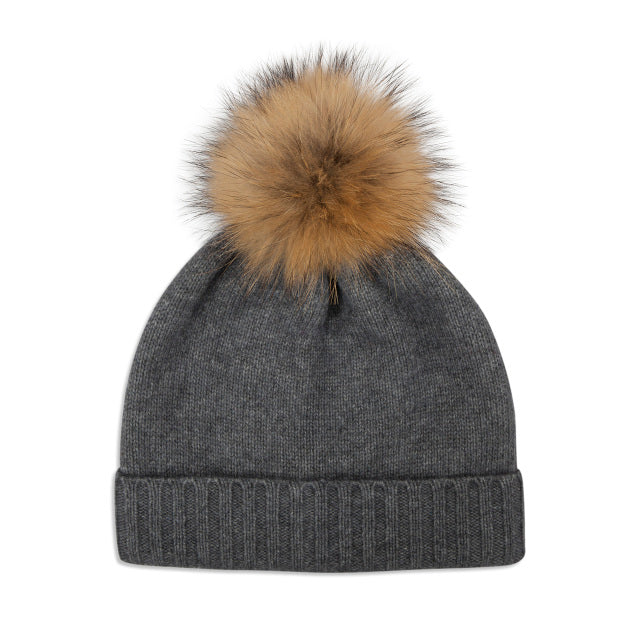 Cashmere Plain Knit Bobble Hat - Grey/Natural