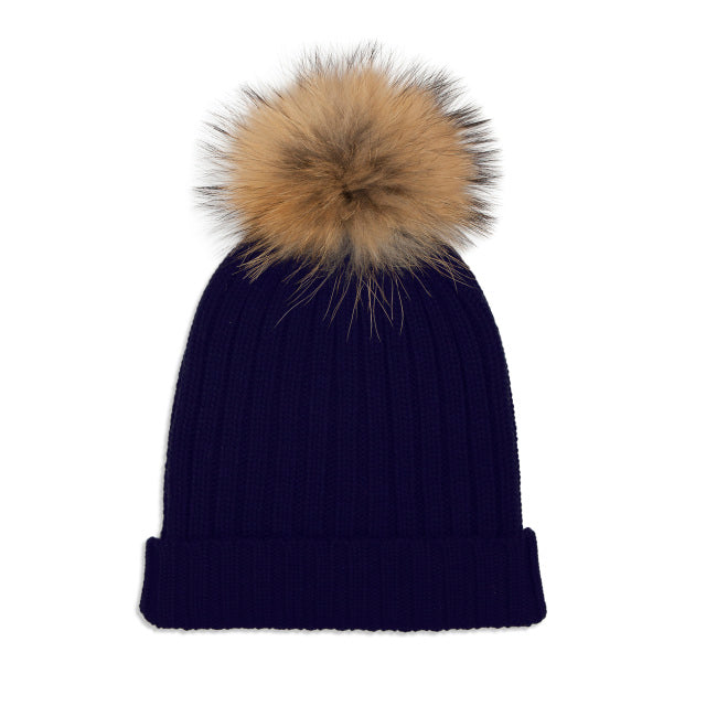Cashmere Rib Knit Bobble Hat - Navy/Natural