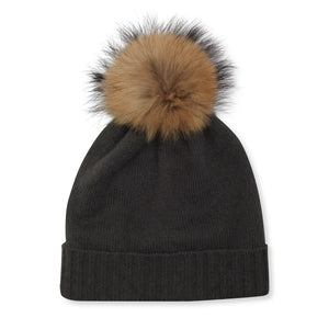 Cashmere Plain Knit Bobble Hat - Mole