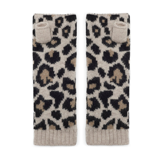 Leopard Knitted Wrist Warmers - Black/Camel