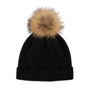 Cashmere Plain Knit Bobble Hat - Black/Natural
