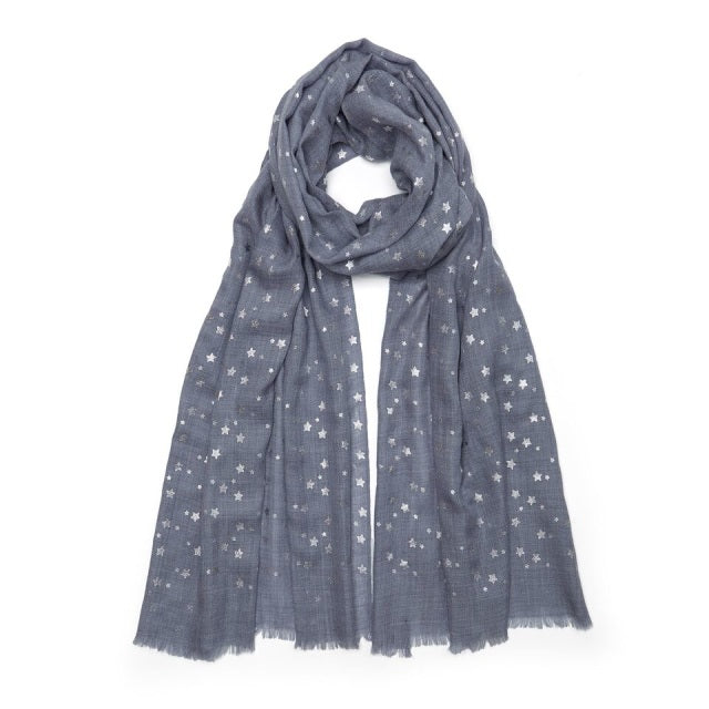 Metallic Small Star Pashmina - Natural Blue/Silver