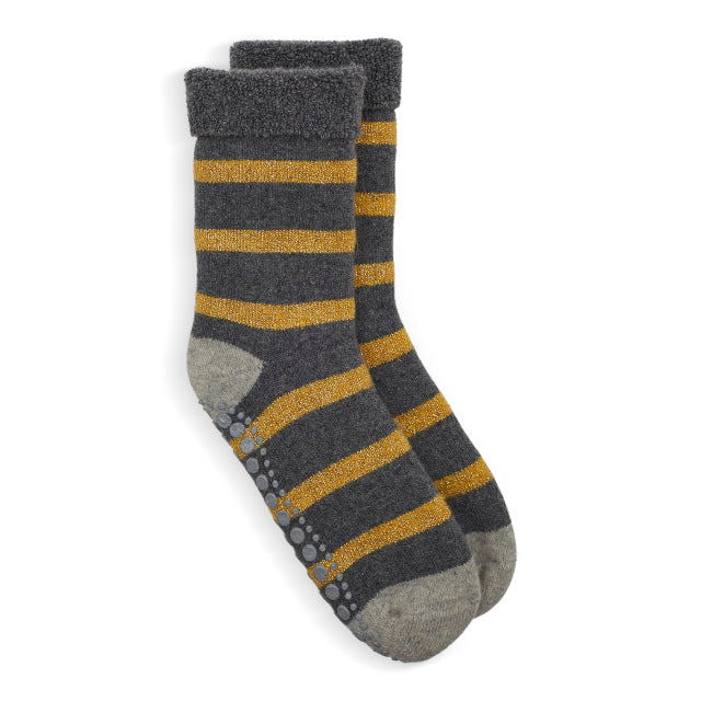 Slipper Socks Glitter Stripe - Gold/Grey
