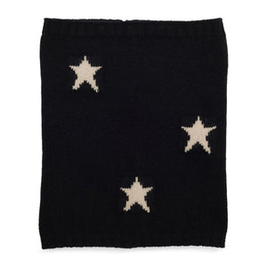 Cashmere Plain Knit Star Neck Warmer - Black/Camel