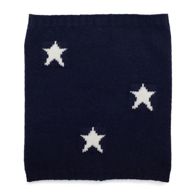 Cashmere Plain Knit Star Neck Warmer - Navy/White