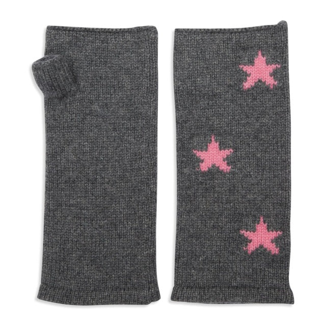Cashmere Plain Knit Star Wrist Warmers - Grey/Pink