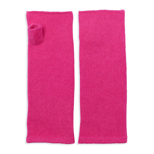 Cashmere Wrist Warmers - Neon Pink