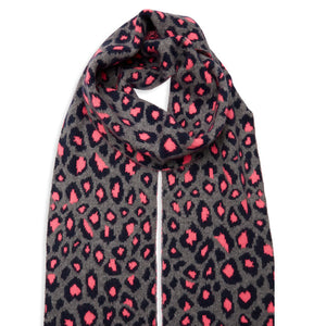 Leopard Knitted Scarf - Navy/Grey/Pink