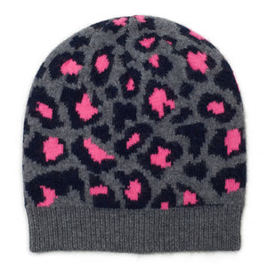 Leopard Knitted Beanie - Navy/Grey/Pink
