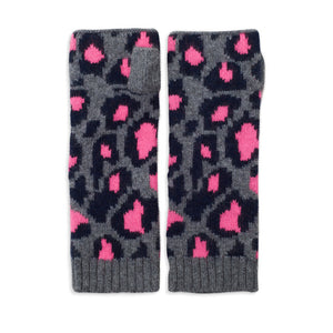 Leopard Knitted Wrist Warmers - Navy/Grey/Pink
