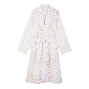 Cotton Dressing Gown - White with Gold Stars