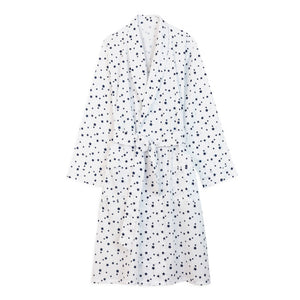 Cotton Dressing Gown - White with Navy Stars