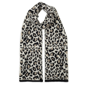 Leopard Knitted Scarf - Black/Camel