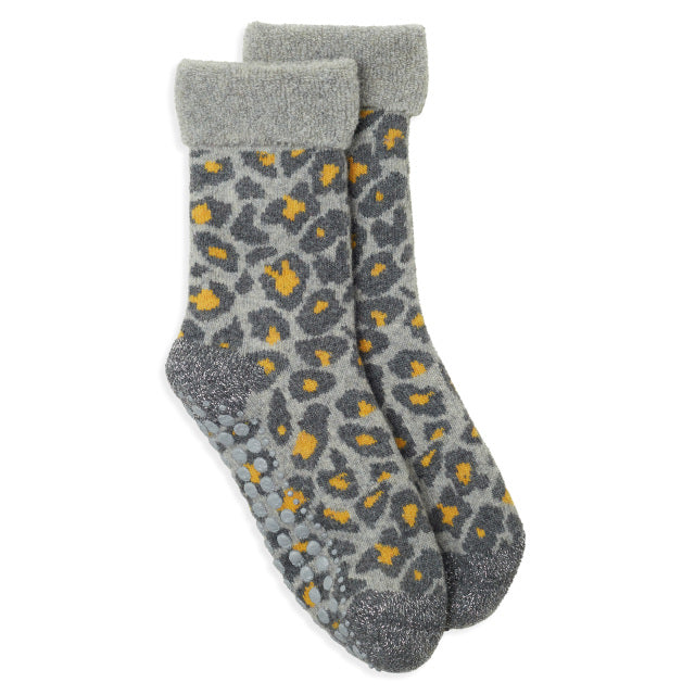Slipper Socks Leopard - Grey/Yellow