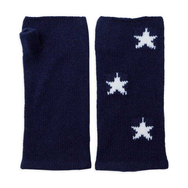 Cashmere Plain Knit Star Wrist Warmers - Navy/White