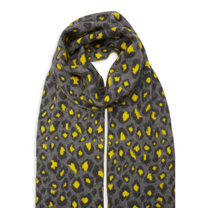 Leopard Cashmere Knitted Scarf - Grey/Grey/Yellow