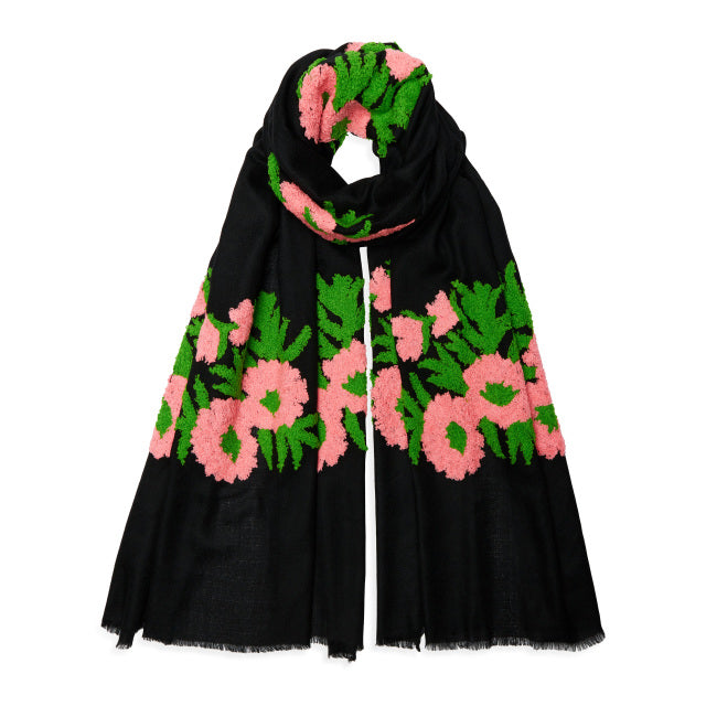 Mexican Flower Pashmina - Pink/Green/Black