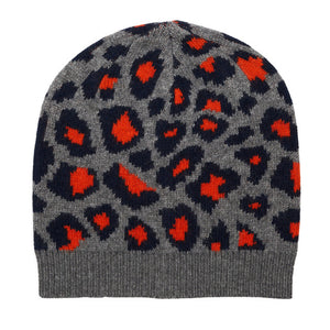 Leopard Knitted Beanie - Grey/Navy/Orange