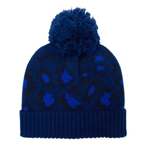 Leopard Knitted Bobble Hat - Blue/Navy