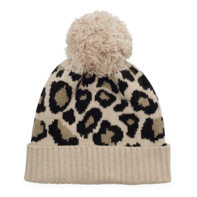 Leopard Knitted Bobble Hat - Camel/Black