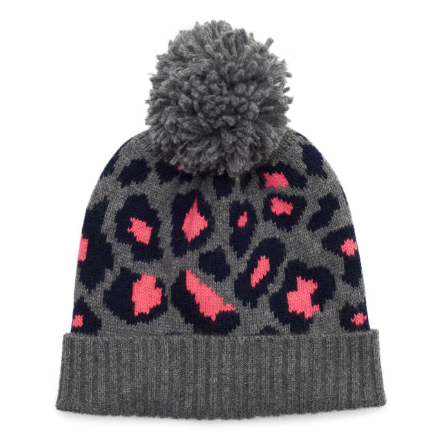 Leopard Knitted Bobble Hat - Pink/Navy/Grey