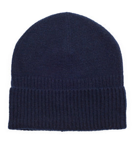 Cashmere Loose Rib Beanie - Navy