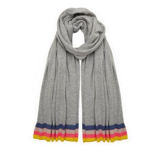 Cashmere Rainbow Scarf - Light Grey