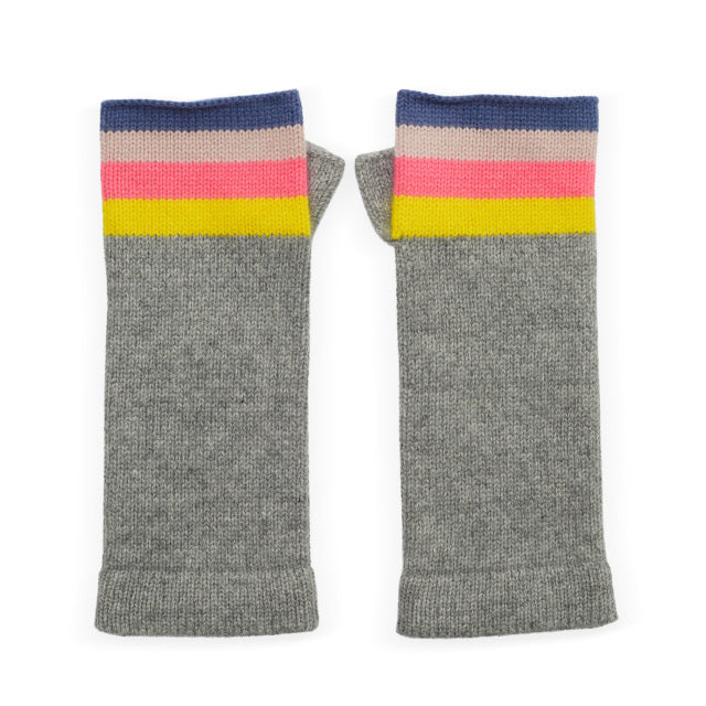 Cashmere Rainbow Wrist Warmers - Pale Grey