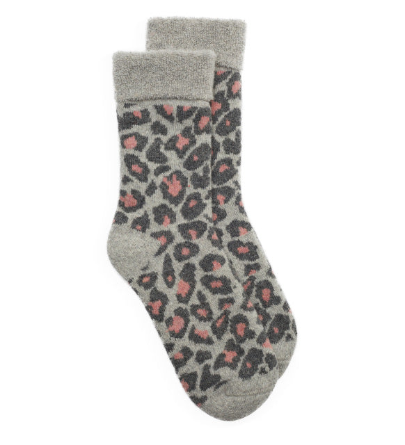 Slipper Socks Leopard - Grey/Pale Pink
