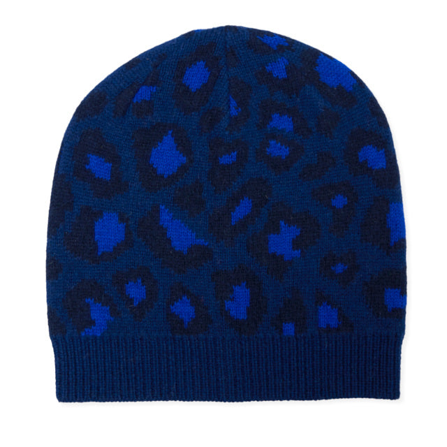 Leopard Knitted Beanie - Blue/Navy