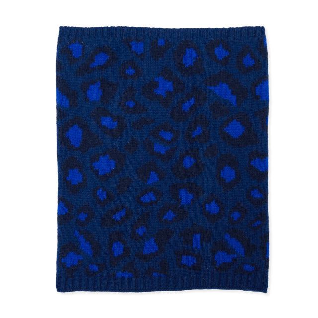 Leopard Knitted Neck Warmer - Blue/Navy