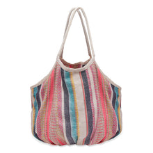 Load image into Gallery viewer, Big Woven Beach Bag - Cream Stripe