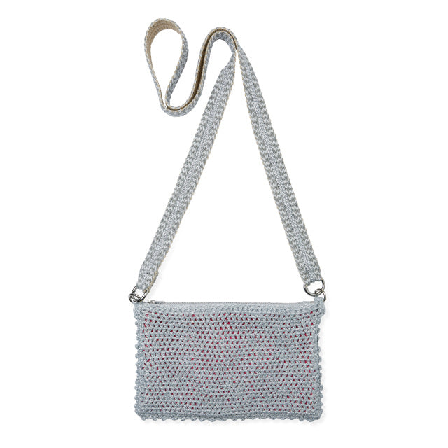 Crochet Bag With Lurex Strap - Silver
