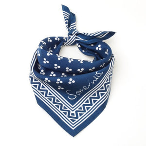 Silk Small Square Scarf - Navy