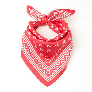 Silk Small Square Scarf - Red