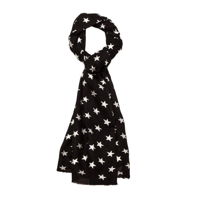 Metallic Star Pashmina - Black/Silver