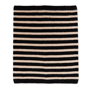 Cashmere Breton Stripe Neck Warmer - Black/Camel
