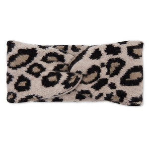 Cashmere Leopard Headband - Cream/Black