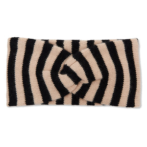 Cashmere Breton Stripe Headbands - Black/Camel