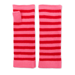 Cashmere Breton Wrist Warmers - Pink/Red
