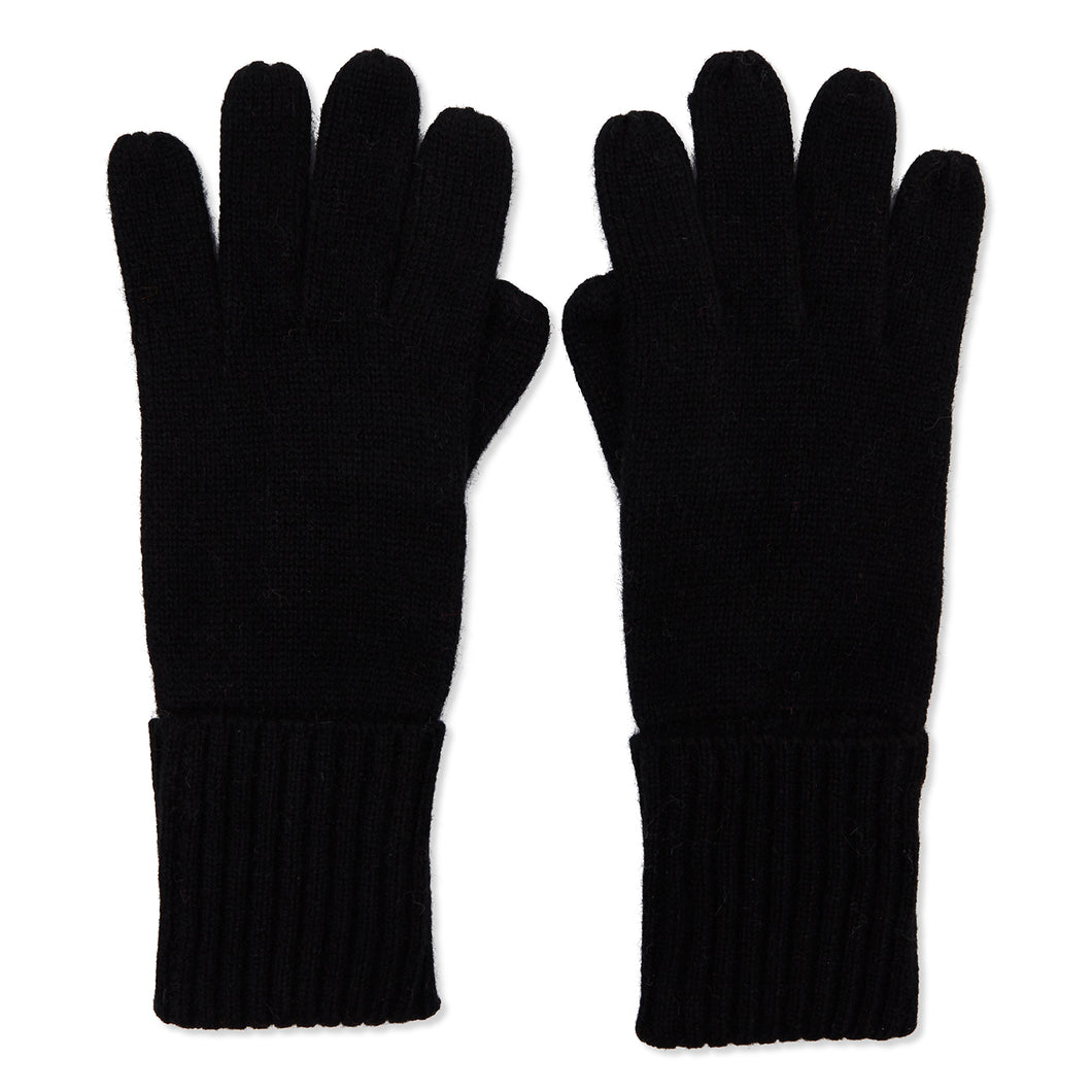 Cashmere Plain Knit Gloves - Black