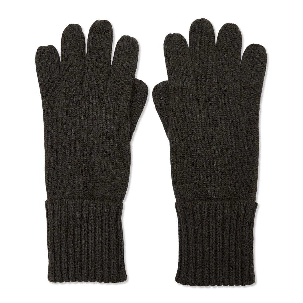 Cashmere Plain Knit Gloves - Olive