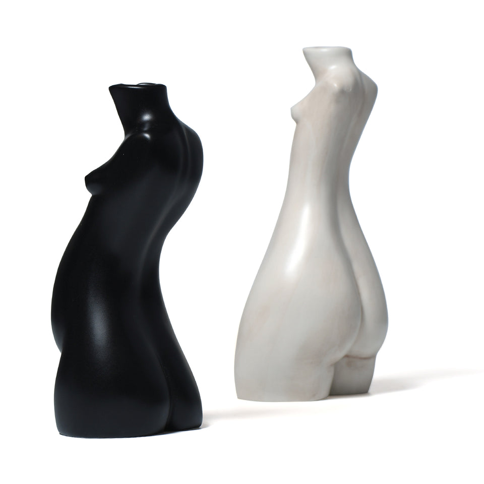 TIT FOR TAT CANDLESTICK WHITE MARBLE & BLACK MATTE (SET OF TWO)
